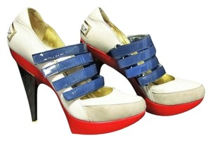 Dsquared2 Leather Patent Leather Suede Sporty Strappy White/Blue/Red/Gold Pumps