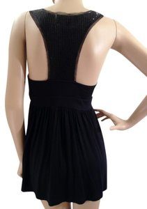 Cupio Glossy Racer-back Top Black & Shimmery Black Beaded Back