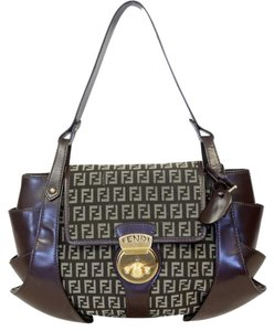 Fendi Monogram Canvas Tote Peekaboo Shoulder Bag