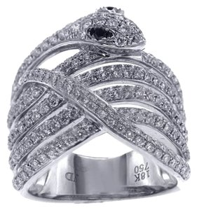 Other BRAND NEW, Ladies 18K White Gold Snake Ring with Diamonds