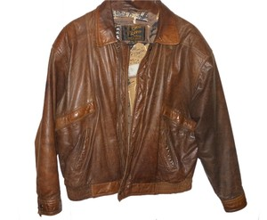 Reed Sportsware Vintage men's Reed sportsware distressed leather bomber jacket