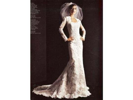 David's Bridal Ivory Lace Ct229 Traditional Wedding Dress Size 8 (M)