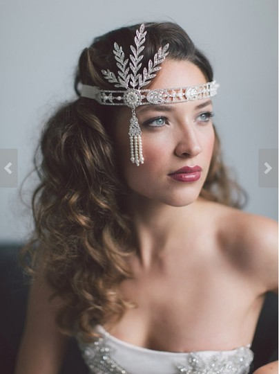 Silver Headpiece Headband Tiara Great Gatsby Art Deco Downton Abbey Style Hair Accessory