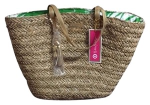 Lilly Pulitzer Beige Rafia Beach Bag