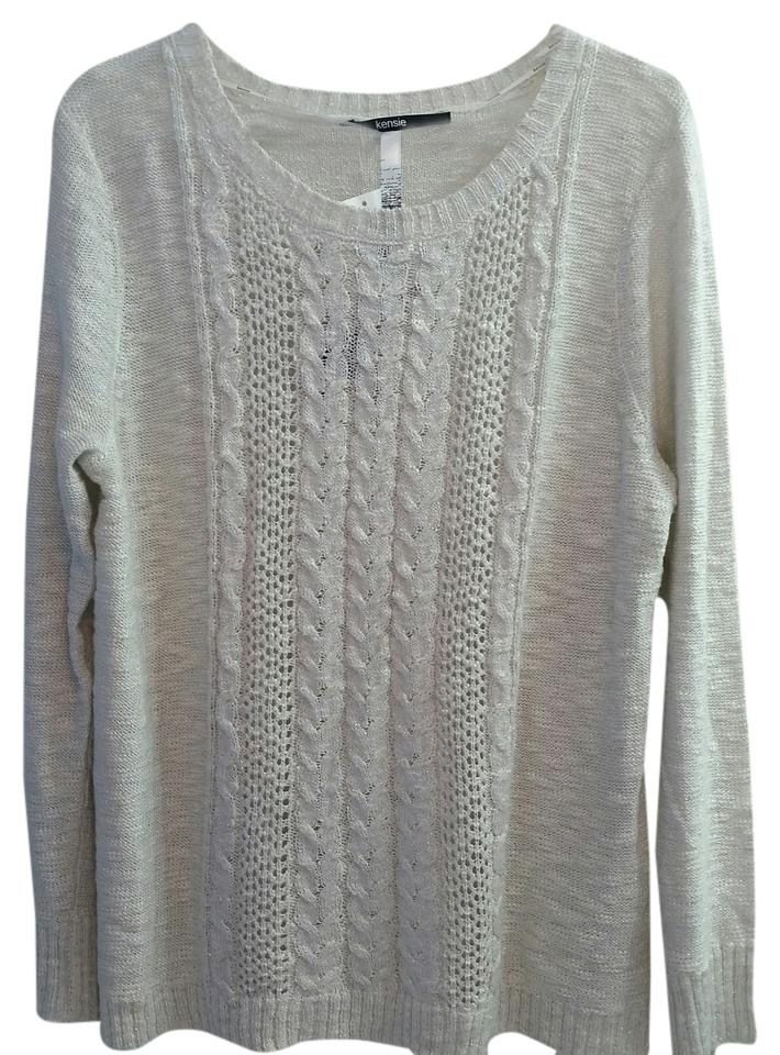 dd2fd37d Kensie Cable Knit Pointelle Sparkly White Silver Neutral Sweater ...