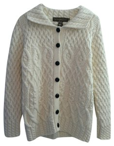 Inis Crafts Aran Irish Cable Knit Sweater Fisherman Cables Merino Wool Cream Ivory Neutral Cardigan