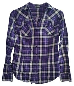 Express Plaid Purple Black Flannel Button Down Shirt Multi
