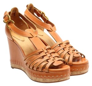 Chloé Wedge Leather Marcie Sandal Tan Wedges
