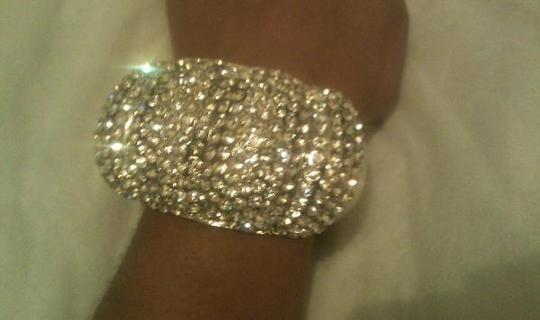 Diamond/Silk White/Silver Sale 35.00 Large Rhinestone Crystal Bracelet