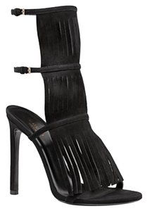 Gucci Suede Fringe High Heel Black Sandals