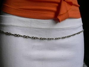 Other Women Thin Belt Hip Waist Double Metal Chain Silver Trendy Skinny