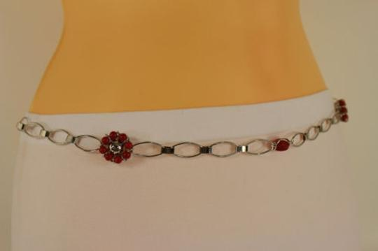 Other Women Thin Belt Hip Waist Belly Silver Metal Chain Red Flower Fashion Skinny