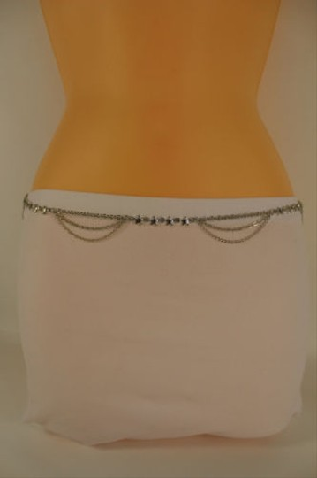 Other Women Thin Belt Hip Waist Silver Metal Chain Star Charm Fashion Skinny
