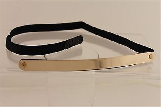Other Women Elastic Black Belt High Waist Gold Metal Skinny Mirror Plate Fashion