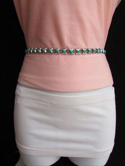 Other Women Thin Belt Hip Waist Silver Metal Chain Blue Square Fashion Skinny