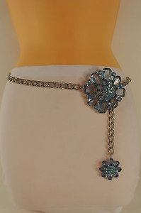 Other Women Fashion Belt Hip Waist Silver Metal Chain Big Flower Buckle