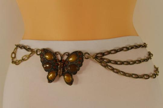 Other Women Wide Belt Hip Waist Gold Brown Metal Chain Butterfly Charm Fashion