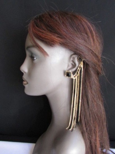 Other Women Earrings Fashion Long Pair Gold Black Fabric Drape Beads 1 Side