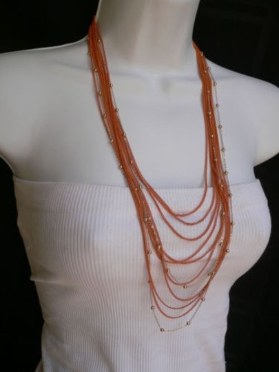 Other Women Necklace Earrings Set Long Multi Chains Fashion Orange Gold Color