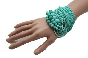 Women Bangle Bracelet Fashion Turquoise Blue Multi Strands Beads Chunky Jewelry