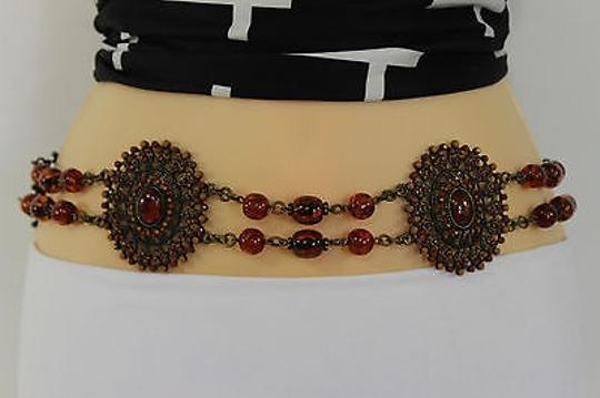 Other Women Skinny Belt Hip Waist Flowers Gold Metal Chain Brown Beads Tie Fashion
