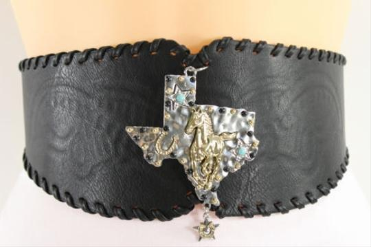 Other Women Fashion Wide Belt Hip Waist Black Brown Western Faux Leather Texas Rodeo