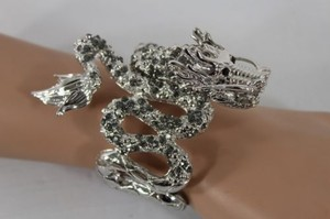 Women Cuff Bracelet Silver Wide Chinese Dragon Fashion Animal Pewter Rhinestones