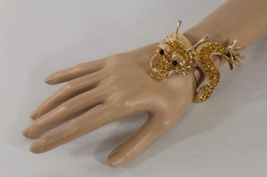 Other Women Cuff Bracelet Gold Chinese Big Dragon Fashion Animal Gold Rhinestones