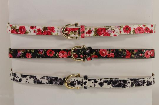 Other Women Fashion Narrow Belt Hip Waist Black White Flower Floral Plus