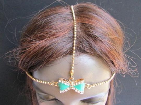Other Women Head Chain Fashion Gold Metal Jewelry Center Bow Rhinestones Headband