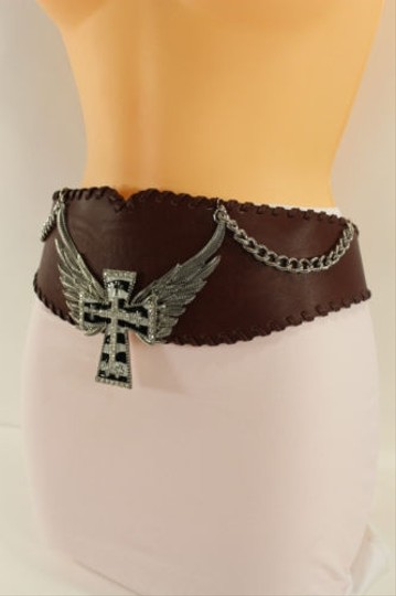 Other Women Fashion Wide Belt Hip Waist Black Brown Western Faux Leather Cross Wing
