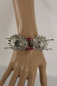 Other Women Cuff Bracelet Silver Chinese Dragon Head Fashion Animal Pink Rhinestones