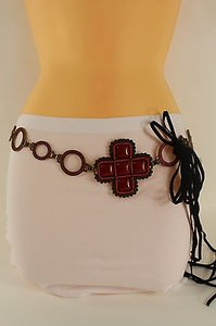 Women Fashion Belt Hip Waist Metal Chain Red Brown Flower Charm Buckle Tie