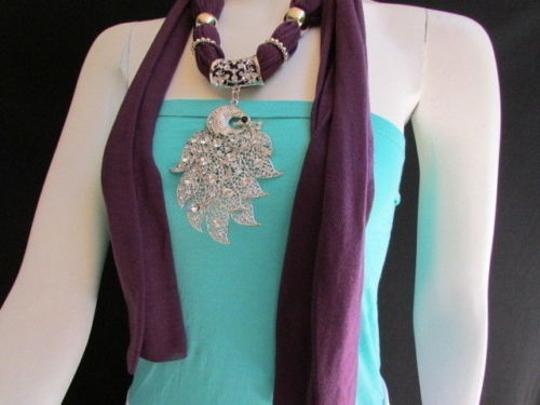 Preload https://item3.tradesy.com/images/women-scarf-necklace-fashion-soft-fabric-long-purple-big-silver-peacock-pendant-4283392-0-0.jpg?width=440&height=440