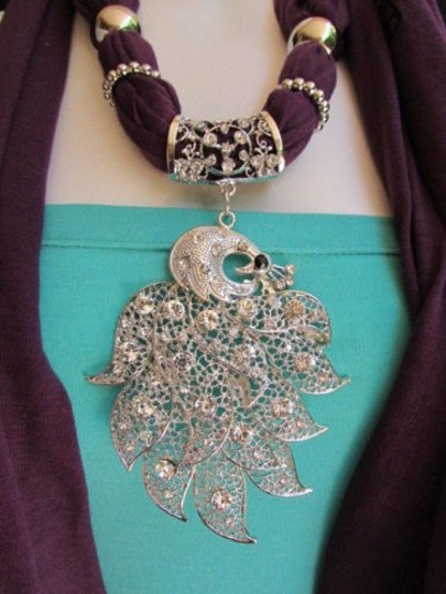 Other Women Scarf Necklace Fashion Soft Fabric Long Purple Big Silver Peacock Pendant