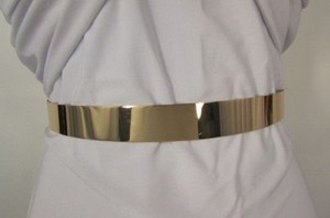 Other Women Hip Waist Mirror Band Gold Metal Plate Thin Fashion Belt Metallic