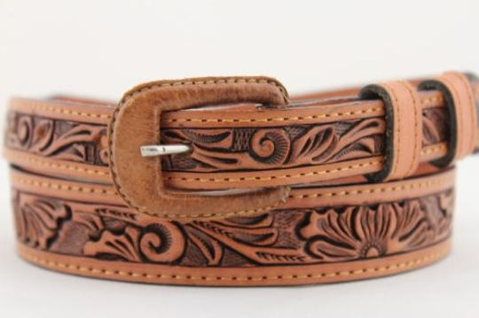 Other Women Narrow Belt Fashion Brown Geniune Leather Flowers Square Buckle 26-30