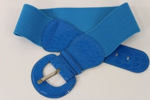 Women Cobalt Blue Fashion Belt Elastic Hip High Waist Stretch Wide Faux Leather