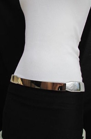Other Women Elastic Band Thin Skinny Fashion Belt Hip Waist Gold Silver Metal Plate