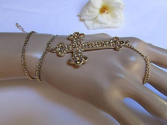 Other Women Bracelet Fashion Gold Big Cross Hand Chain Slave Ring Rhinestones