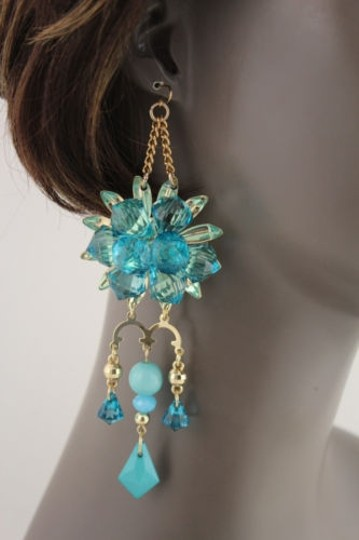 Other Women Flower Plastic Crystal Beads Metal Chains Fashion Earrings Blue Gold White