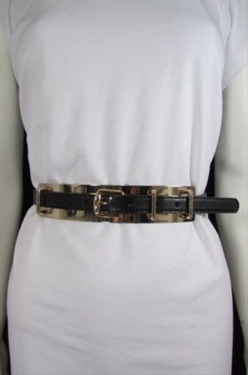 Other Women Belt Fashion Gold Metal Plate Buckle High Waist Faux Leather Black