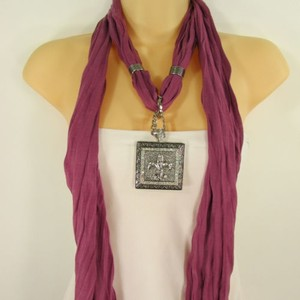 Other Women Necklace Scarf Fashion Purple Fabric Long Fleur De Lis Pendant Lily Charm