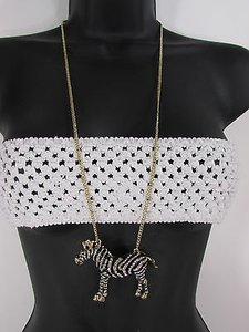 Women Necklace Fashion Metal Zebra Long Chains Classic Gold Silver Mix