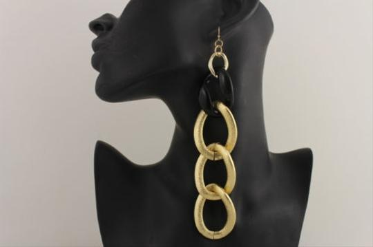 Other Women Black Gold Metal Chain Links Fashion Jewelry Hook 6 Long Earrings Dangle