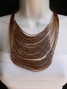 Women Long Brown Necklace Thin Slice Beads Silver Pink Elegant Dresy Style