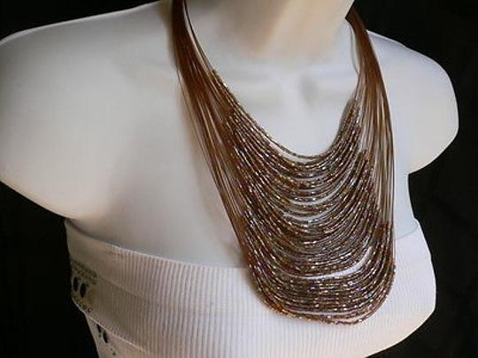 Other Women Long Brown Necklace Thin Slice Beads Silver Pink Elegant Dresy Style