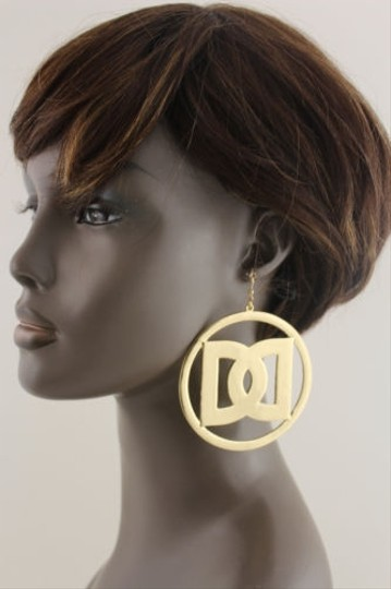 Other Womens Yellow Gold Metal D Trendy Hip Hop Fashion Jewelry Hook Big Hoop Earrings