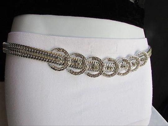 Other Women Belt Hip Waist Silver Metal Seven Circles Rhinestones Chains
