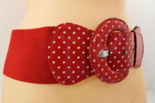 Other Women Red Polka Dots White Fashion Belt Elastic Hip Waist Stretch Wide
